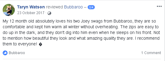 Facebook review of Platinum Joey Swag baby sleeping bag