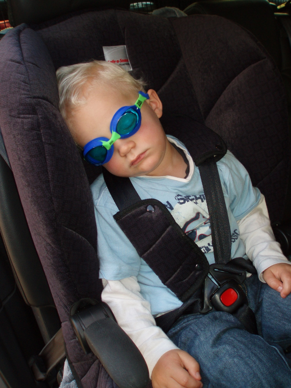 Sleeping Jacob wearing his goggles