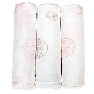 Pink/Mocha Dot 3 Pack Muslin Wraps
