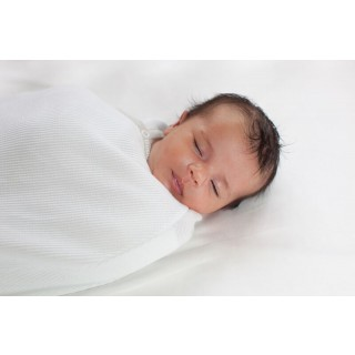 Joey Pouch Swaddle Wrap White with Platinum Binding